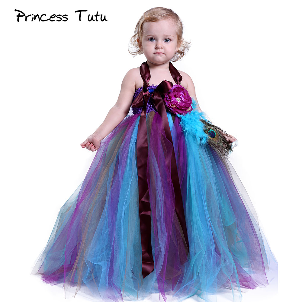 Baby Girl Peacock Wedding Tutu Dress Children Lolita Style Feather ...