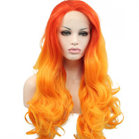 Sylvia Natural Wavy Wig Ombre Orange Synthetic Lace Front Wigs Long Hair Heat Resistant Fiber Hair