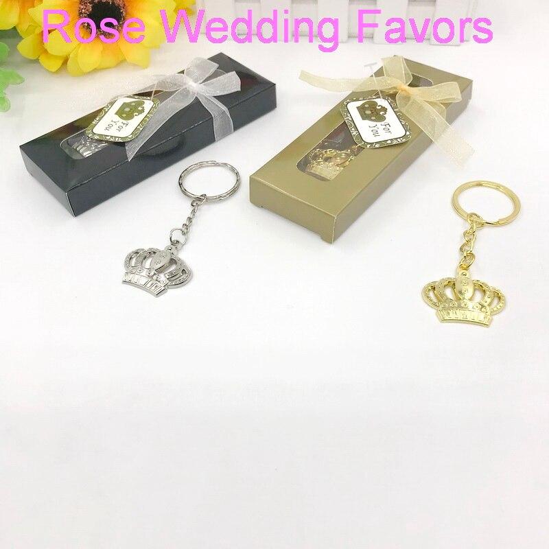 (50 sztuk/partia) darmowa wysyłka + Baby chrzest srebrny/złota korona brelok do kluczy w pudełku Imperial Crown breloki dobrodziejstw w Prezenty imprezowe od Dom i ogród na  Grupa 1