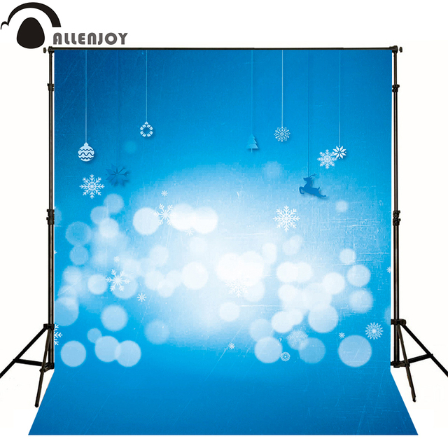 Allenjoy Photographic Background Lamp Blue Bokeh Blur Reindeer Kids Photocall Professional Fabric Send Folded Christmas Party