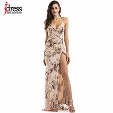IDress S-XL Новое поступление облегающее длинное платье Лучшее качество женское платье на бретелях без рукавов Макси длинное платье сексуальное Клубное платье с блестками