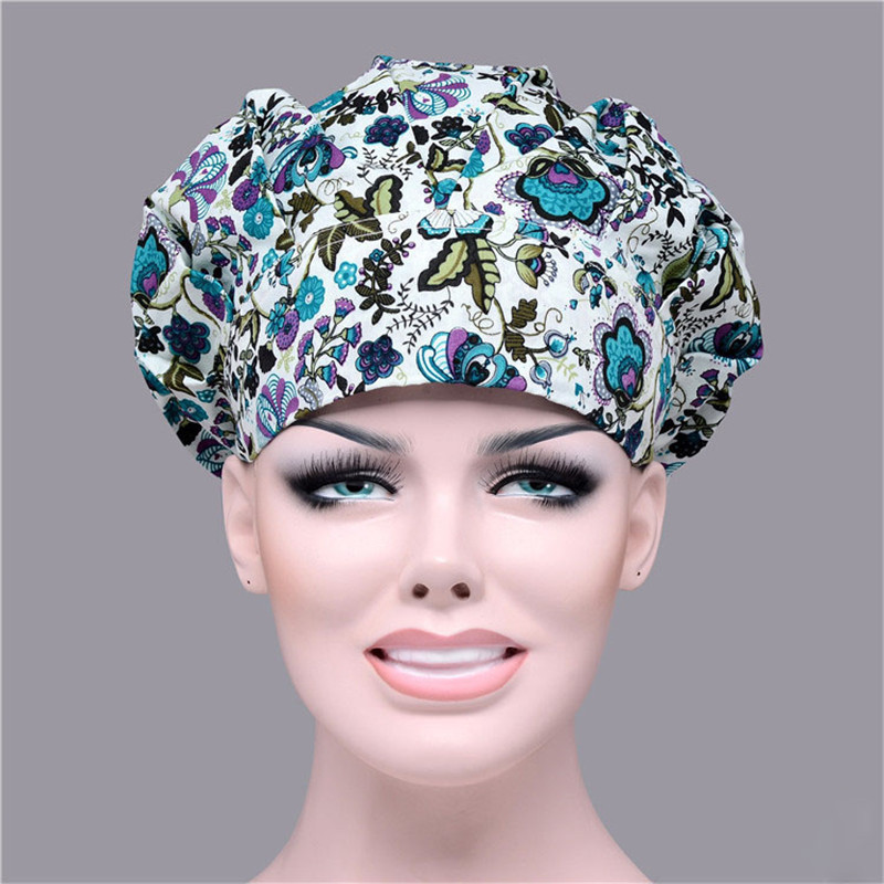 Print Bouffant Surgical Cap For Women Medical Scrub Surgean's Hats Work One Size Print 6 Color Cotton Chef Cooking Caps Cheap