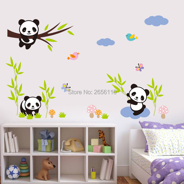 lovely panda bamboo diy wall stickers removable wall decal decor for