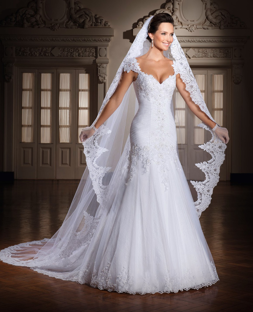 Aliexpress.com : Buy Bewitching White Cap Sleeve Mermaid Wedding ...