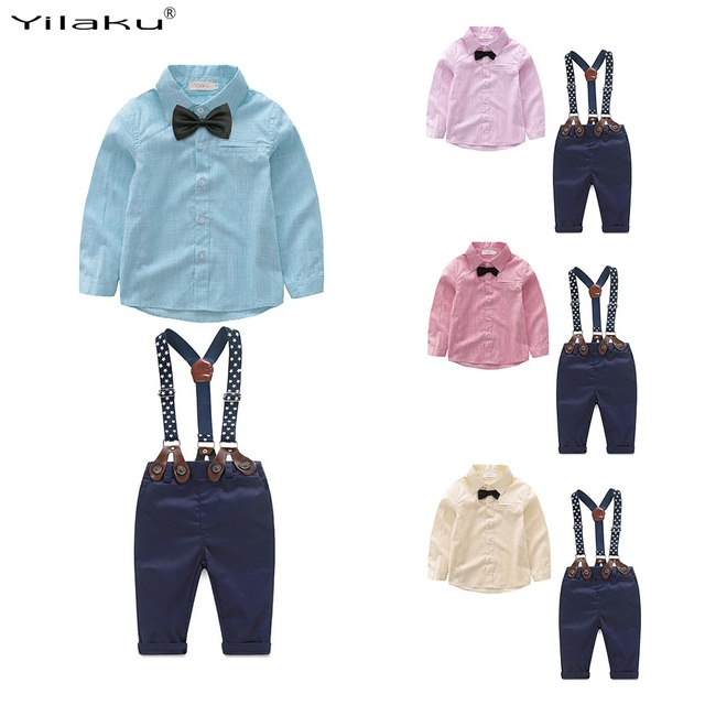 Yilaku Baby Boys Clothing Sets Gentleman Outfits Toddler Boy Tuxedo Suits Bow Tie Shirts + Suspender Pants FF461