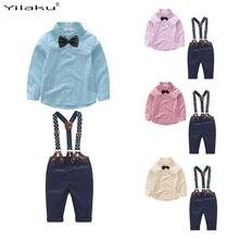 Yilaku zestawy ubrań dla chłopców Gentleman stroje maluch chłopiec smokingowe garnitury łuk wiązane bluzki + spodnie na szelkach FF461