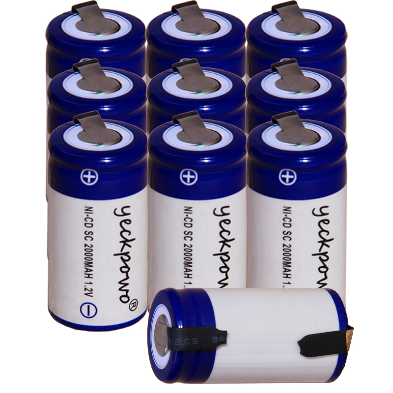 Yeckpowo 10 Pieces SC Battery 1,2v Batteries Nicd Rechargeable For Power Tools 2000mAh For Drill Screwdriver  Real Capacity
