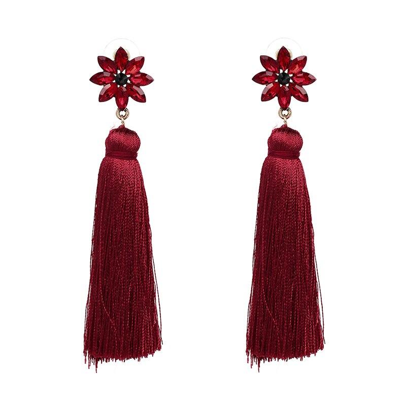 New Arrival 2017 Long Yarn Tassel Flower Shape Dangle Earring Trendy Classic Statement Brincos For Women