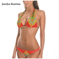 Jocelyn Katrina Swimsuit Women Bikini 2017 Retro Ethnic Printed Strappy Bikini Set Sexy Bandage Biquini Bathing