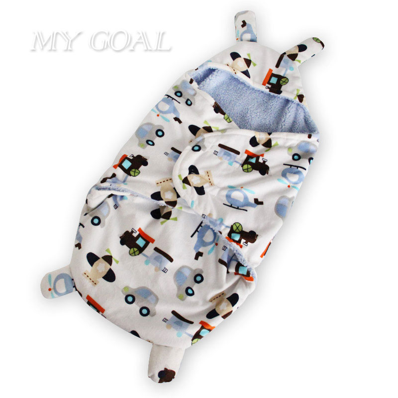 Baby Sleeping Bag Swaddle Wrap Baby Blankets Newborn Infant Towel Soft Short Plush Envelope Swaddling Sleeping Bag