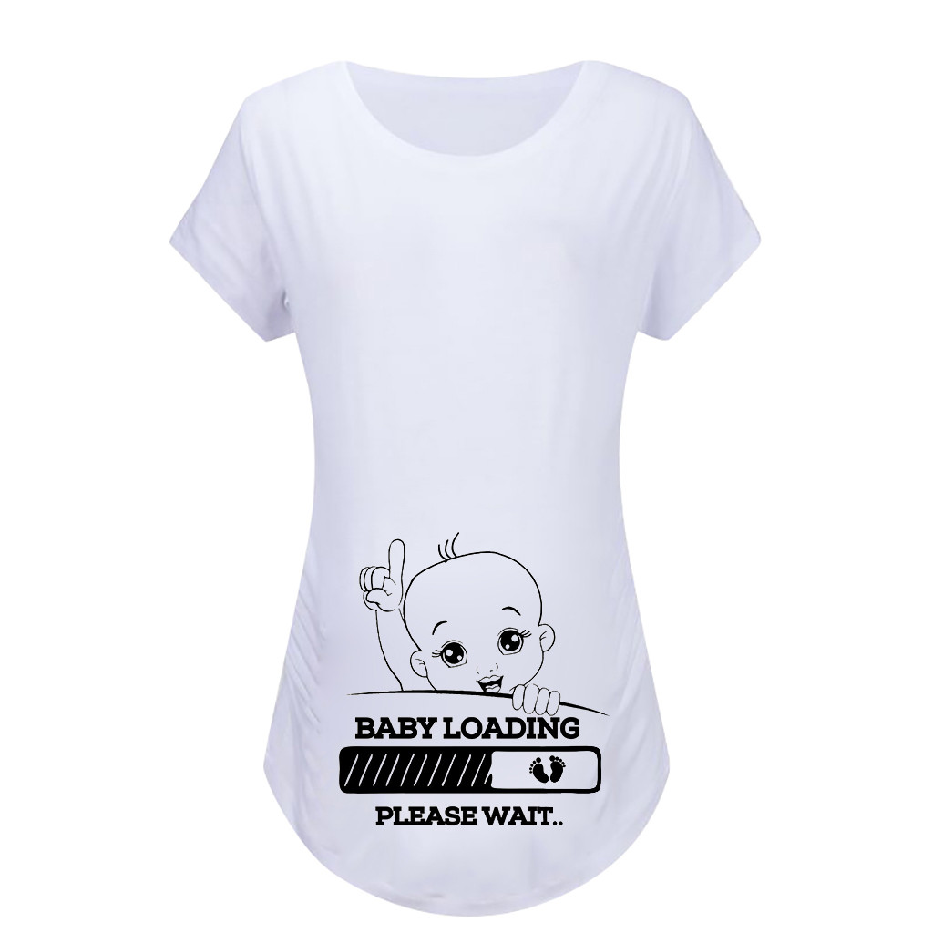 674f390bccf66 Women Maternity Short Sleeve Cartoon Print Tops T-shirt Pregnancy Clothes  clothes for pregnant women