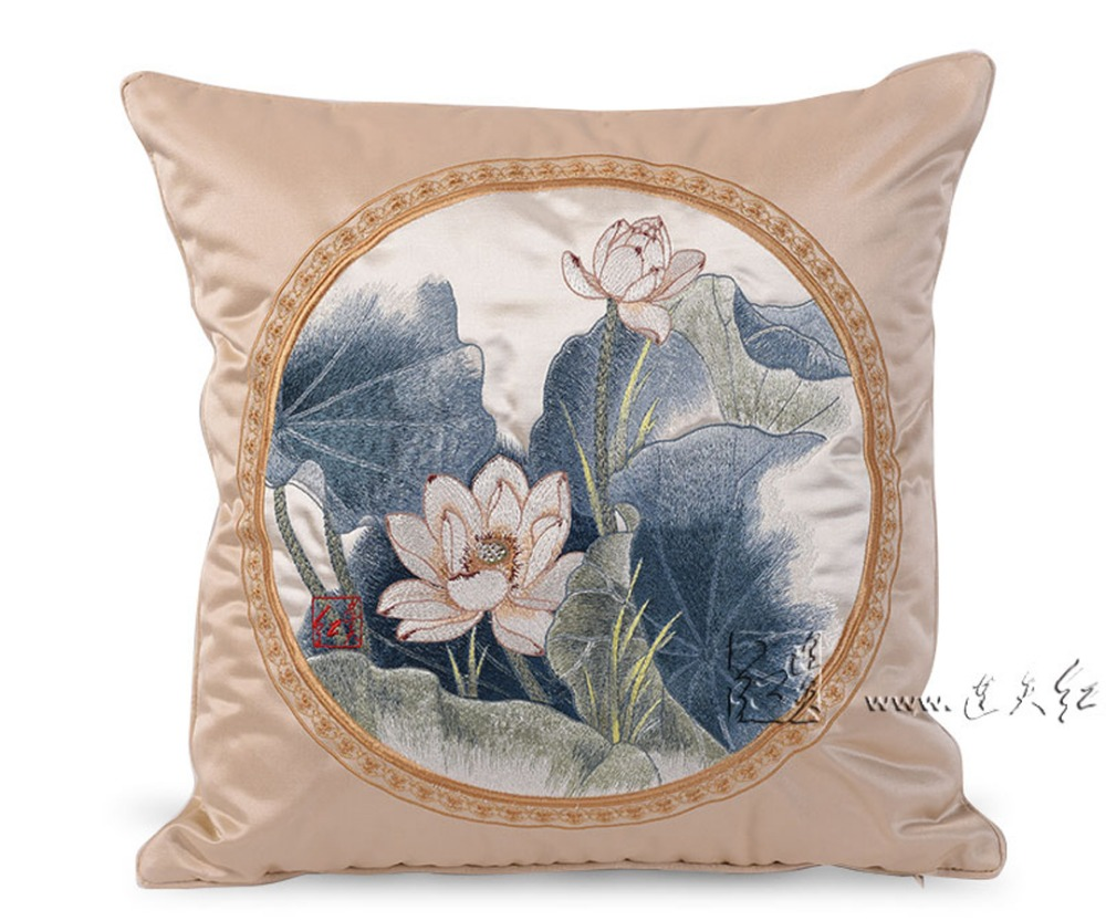 Big Sofa Back Cushions Us 74 1 5 Off European Beauty Fragrance Lotus Sofa Big Back Pillow Embroidery Scenic Bed Comfort Cusions Living Decorative Car Waist Cushions In