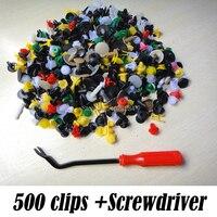 500Pcs Mixed Push Pin Mixed Door Trim Panel Clip Fastener Bumper Rivet Retainer W Screwdriver For