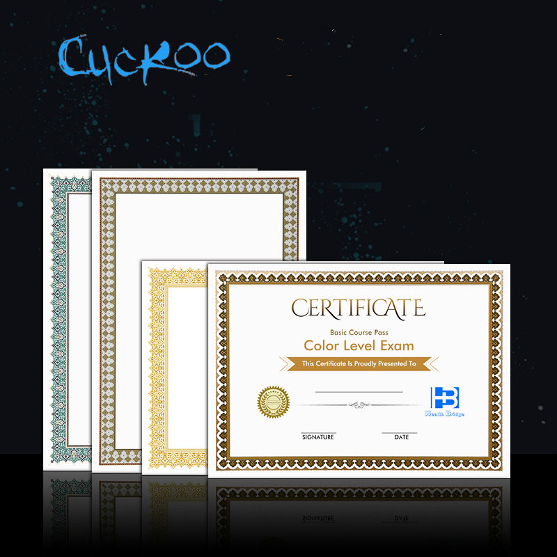 CUCKOO 1pcs Award Certificate Custom Creative A4 Authorization Book Honor Certificate Production Custom  Printing Paper