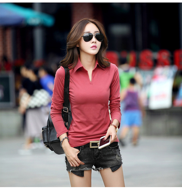 long sleeve polos polo women solid plain black polos shirt  women polo manga larga chemise femme mache longue marque
