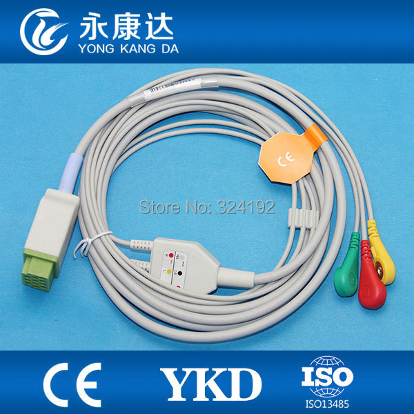 2pcs/pack GE-MEDICAL Dash 2000 one piece IEC 3lead Snap patient monitor ECG cable with leadwire2pcs/pack GE-MEDICAL Dash 2000 one piece IEC 3lead Snap patient monitor ECG cable with leadwire