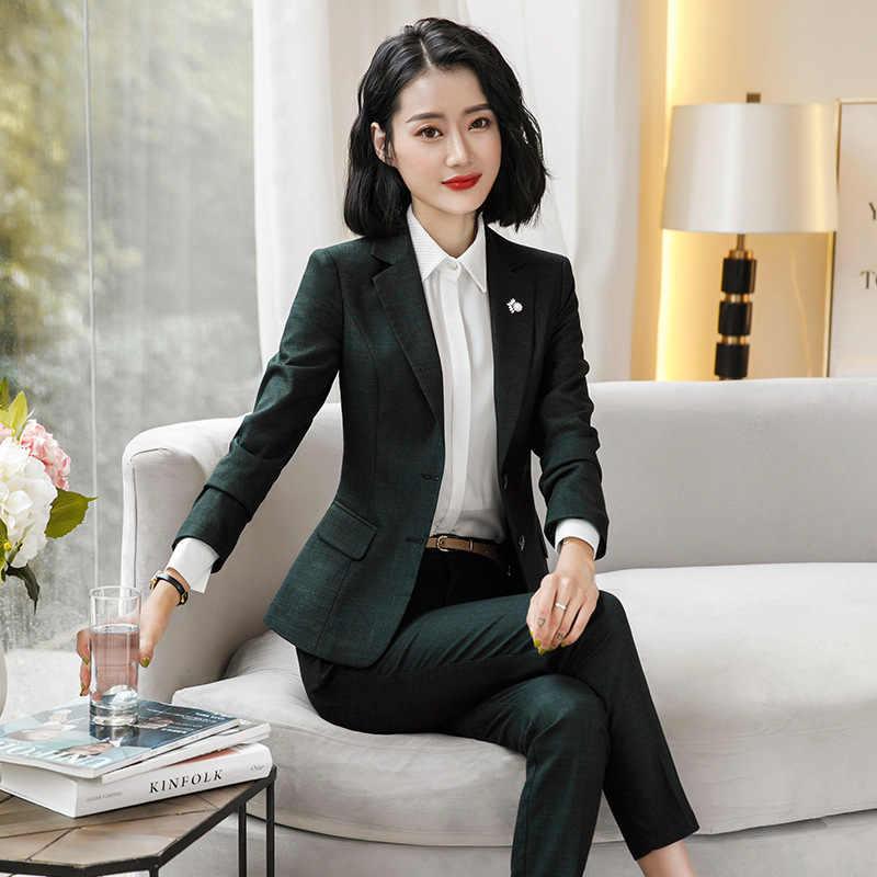 8fa76b9b19d70 ... 2018 Winter Women's Green Blue Plaid Pants Suit ladies office lady  business suits trouser blazer for ...