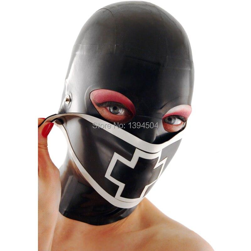 Bodysuit Hot Hot Sexy Lingerie Women Latex Mask Cross Spliced Hoods Fetish Nurse Pull-through Open Eyes Plus Size