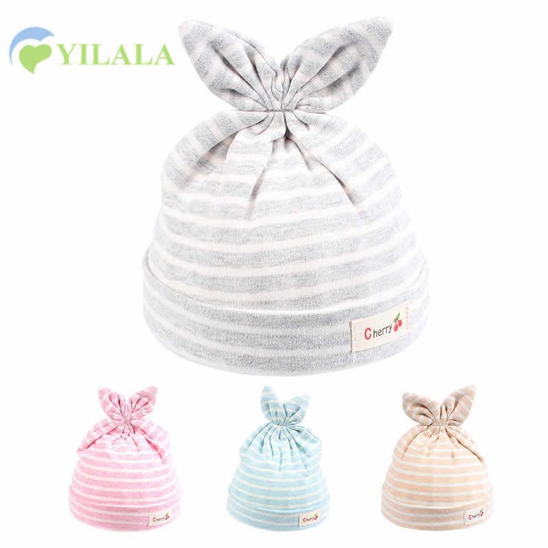 5b79a1a98e7 Cotton Newborn Baby Hat Rabbit Ears Baby Beanie Hat For Boys Girls Solid  Striped Newborn Cap