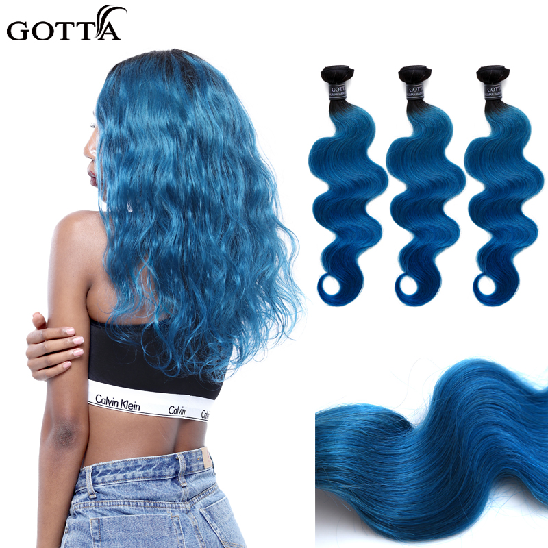 GOTTA T1B/Blue Body Wave Ombre Hair Bundles 100% Virgin Human Hair Extensions Deep Blue Hair Body Wave Human Hair ...
