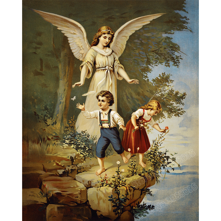 Full Drill 5d Diamond Painting Guardian Angel Picture DIY Round Rhinestone Mosaic Diamond Embroidery Cross Stitch Craft for Home