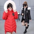 Girls Winter Cotton Down Coat Children Fur Hood Thick Fur Parka Jackets Kids Outerwear casaco feminino menina manteau femme girl