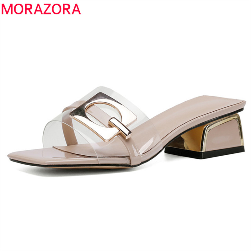MORAZORA 2019 new arrival women slipper square heels party prom shoes woman pvc Transparent unique fashion