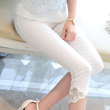 Women Summer high waist Lace Calf-length pencil Pants Casual Female Stretch skinny pockets Capris White Trousers 2017 brief new