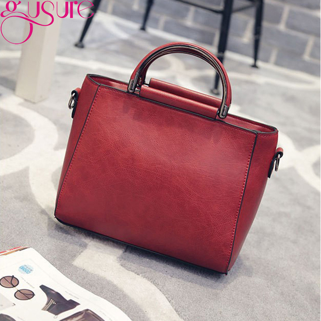 Gusure Pu Leather Handbag Shoulder Tote Women Bag Satchel Messenger Crossbody Bags Soft Black Women's Bag Handbags