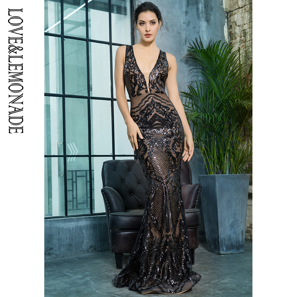 Detail Feedback Questions about Love Lemonade Deep V Neck Black Geometric  Sequins Mesh Lining Sleeveless Long Dress LM81336BLACK on Aliexpress.com  a8826b7594c1