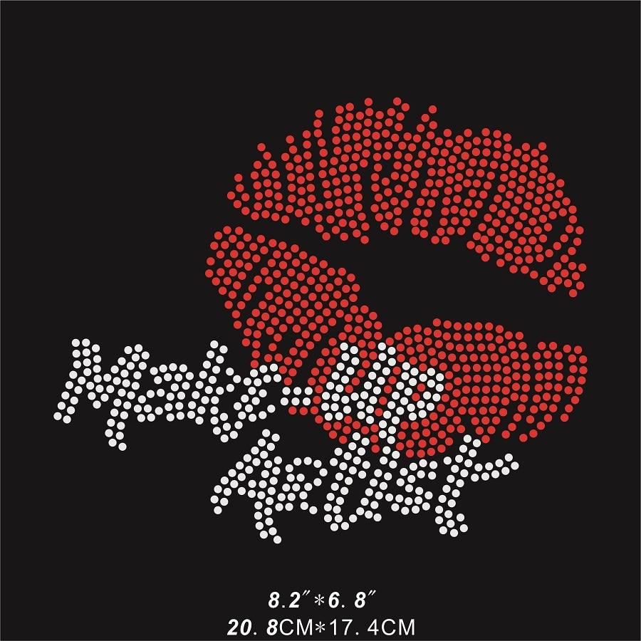 buy lip make up artist rhinestone motif iron on crystal design bling bling for. Black Bedroom Furniture Sets. Home Design Ideas