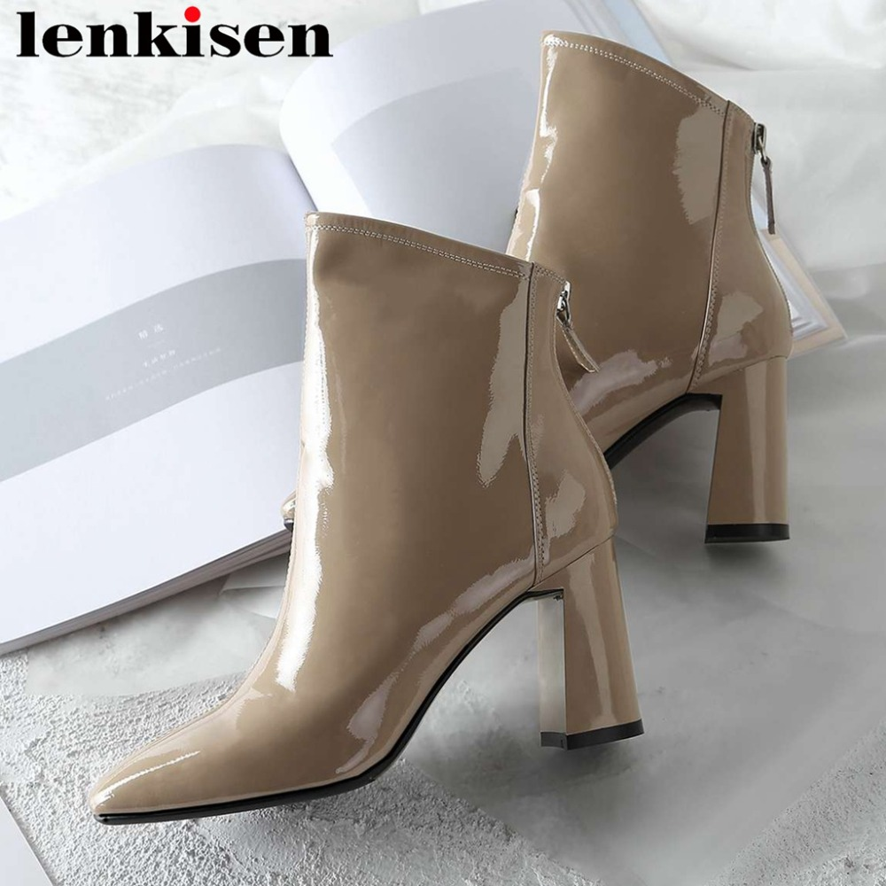 2018 classic chelsea boots popular square toe charming lady cow patent leather thick high heels zipper riding ankle boots L512018 classic chelsea boots popular square toe charming lady cow patent leather thick high heels zipper riding ankle boots L51