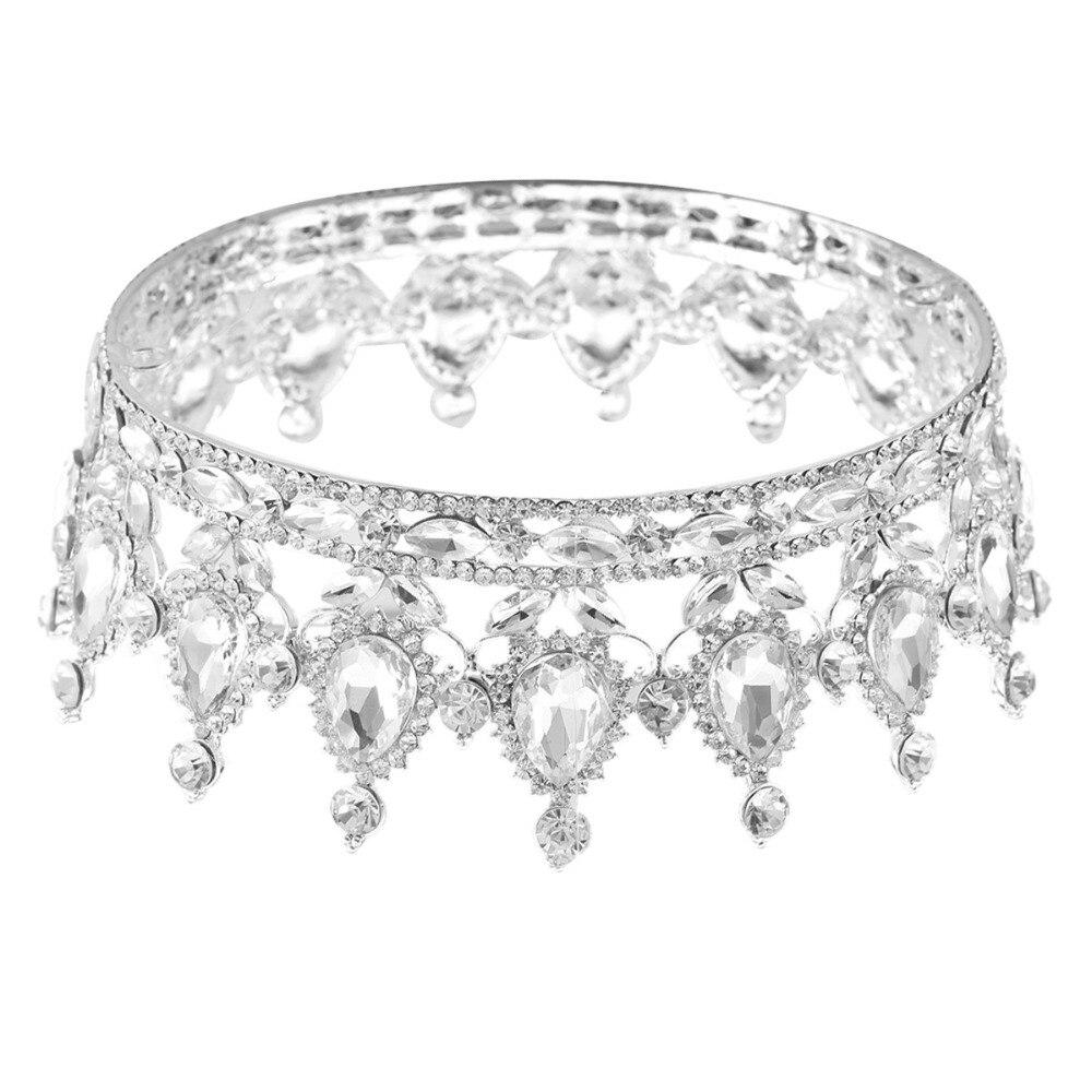 1897550323 Hot europejskie wzory rocznika paw kryształ Tiara korona ślubna diadem dla  panny młodej akcesoria Rhinestone tiary korony korowód