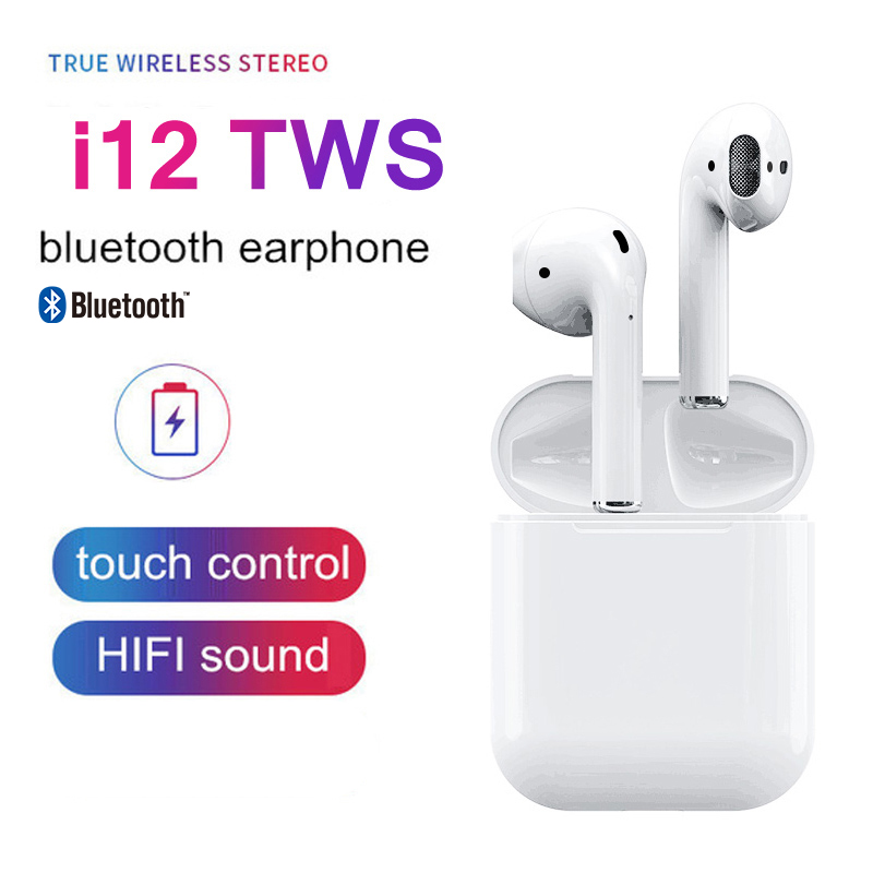 $26.24 i12 TWS Bluetooth 5.0 Earphone Wireless Double Calls Smart Touch Earphone for iPhone Xs Xr Xs Max X 10 8 7 6 6S 5 5S SE 4 4S