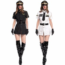Umorden Carnival Party Halloween Female Pilot Costumes Black White Sexy Aviator Costume Women Cosplay Uniform
