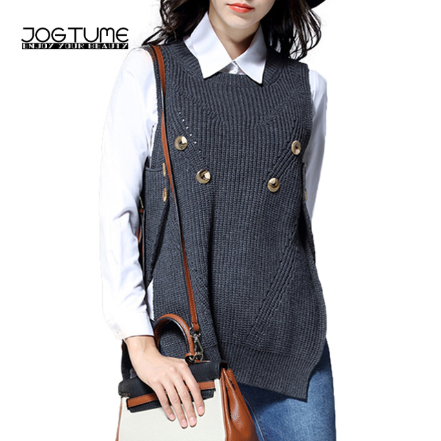 JOGTUME Oversized Sweaters (XL-5XL) Women Sweater Vest 2017 Spring Autumn  Knitted Pullovers Loose Waistcoat Jacket Plus Size 9720c367a