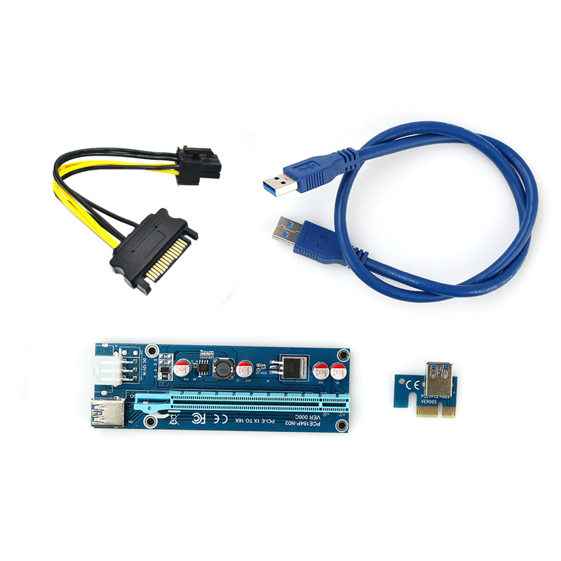 Blue PCI-E PCI E Express 1X to 16X Riser Card +USB 3.0 Extender Cable SATA 15 Pin-6Pin Power Cable 60CM for bitcoin mining L3FE