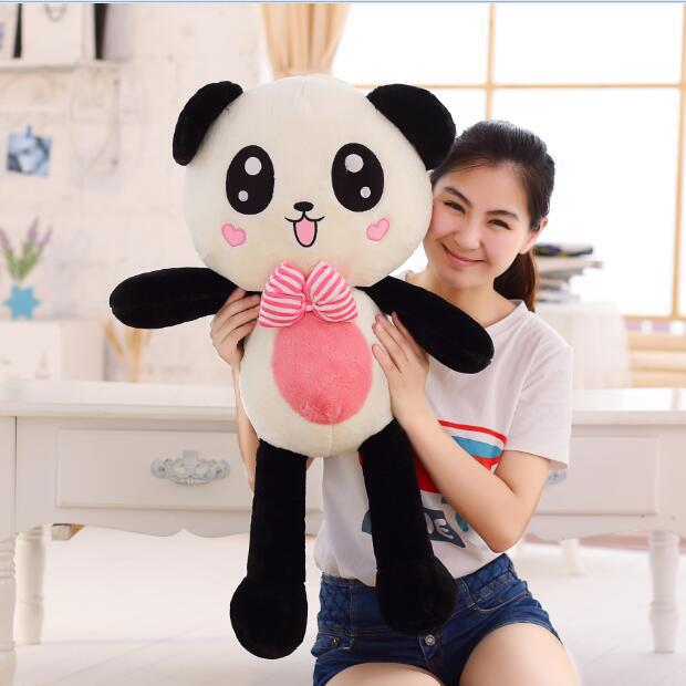 cute new plush naughty panda toy bow heart face panda doll gift about 80cm 40cm super cute plush toy panda doll pets panda panda pillow feather cotton as a gift to the children and friends