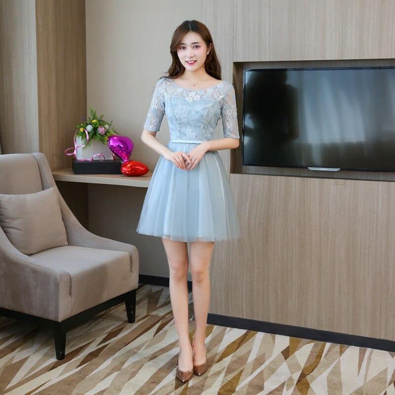Bleu gris Mini robe de soirée robes de demoiselles d'honneur élégantes robes d'occasion spéciale Empire dos de Bandage