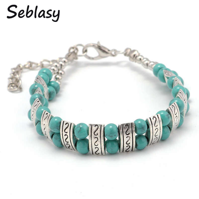 Seblasy Cheapest Vintage Tibet Sliver Color Bohemian Natural Stone Carved S Shape Double Layer Beads Bracelets Bangles for Women