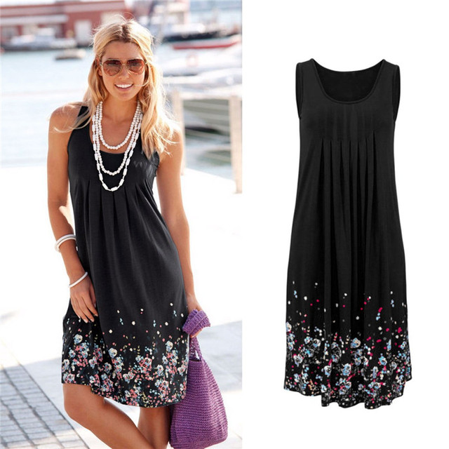 Sexy Flower Printed Loose Tank Dress Sleeveless Women Short Mini Party Beach Dress 2017 European Style Summer Dresses Plus Size