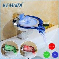 KEMAIDI светодио дный Ванная комната кран латунный хромированный Водопад Ванная комната для умывальника 3 цвета Изменение водопроводной воды ...