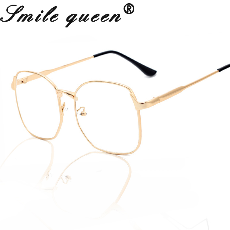 ୧ʕ ʔ୨Fashion Square Gafas Marcos lujo oro metal Monturas de gafas ...