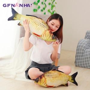 Image 2 - 60/75/100/120 ซม.3D จำลองปลาคาร์พตุ๊กตาของเล่นนุ่มสัตว์ปลา Plush หมอนสร้างสรรค์โซฟาหมอนโซฟาหมอนของขวัญของเล่นเด็ก