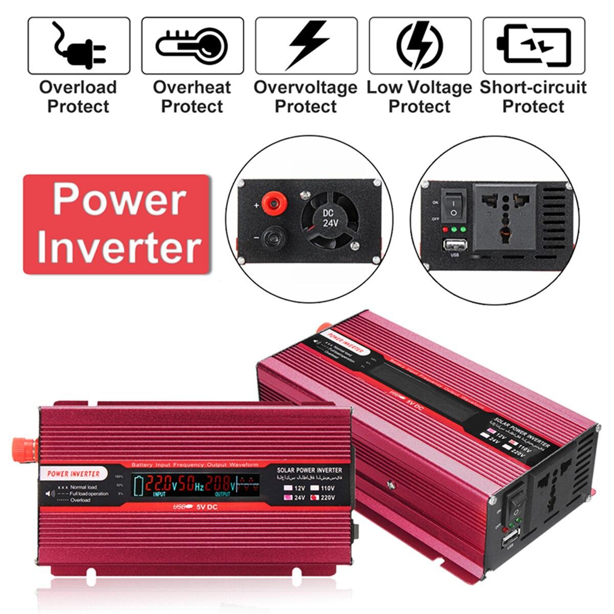 Aluminum Red 12/24V To AC 220/110V Car Power Inverter PEAK 4000W USB Modified Sine Wave Converter Multiple Voltage Transformer