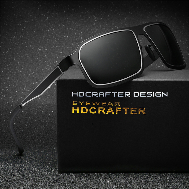 HDCRAFTER 2017 Fashion Classic Full Metal Sunglasses Unisex Square Goggle Polarized Glasses Coating Mirror Oculos For Men/Women