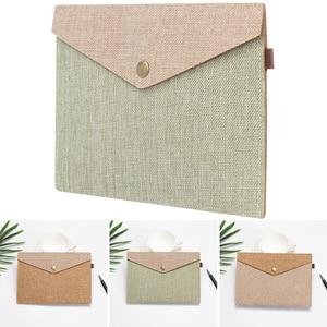 1PC A4/A5 Big Capacity Simple Document Bag Imitation Linen Canvas Felt File Bag Briefcase File Folders Portable Organizer