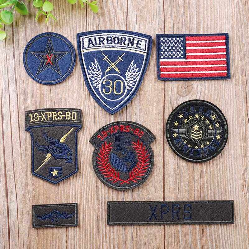 8pcs/lot Airborne troops army patches military embroidery America flag patch iron on for clothes