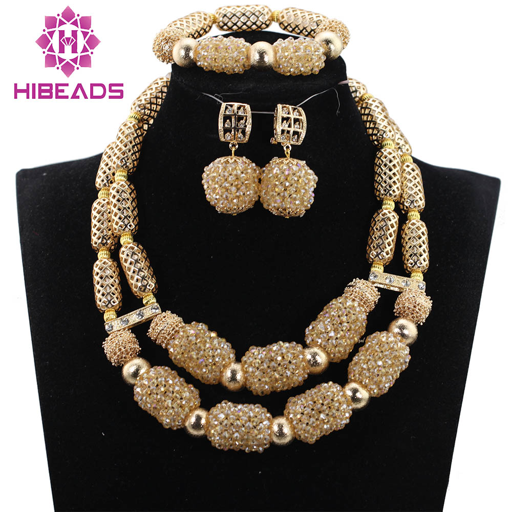 Champagne Gold Crystal Beaded African Jewelry Set Dubai Gold Necklace Earrings Bracelet Set QW1063