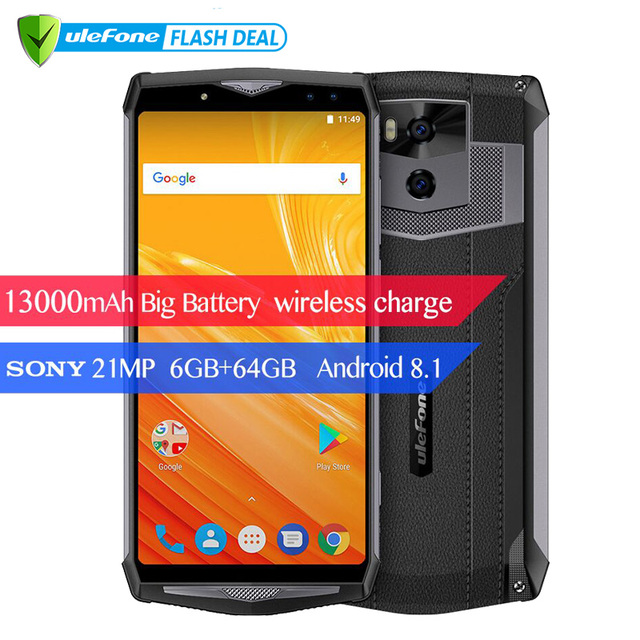 """Ulefone Power 5 13000mAh 4G Smartphone 6.0"""" FHD MTK6763 Octa Core Android 8.1 6GB+64GB 21MP Wireless charger Fingprint Face ID"""